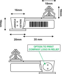 Wire security plastic seal with ANCHORFLAG