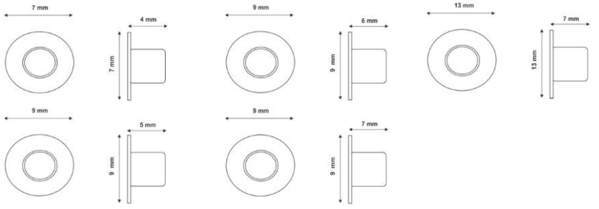 Eyelet seals for bags and packaging.
